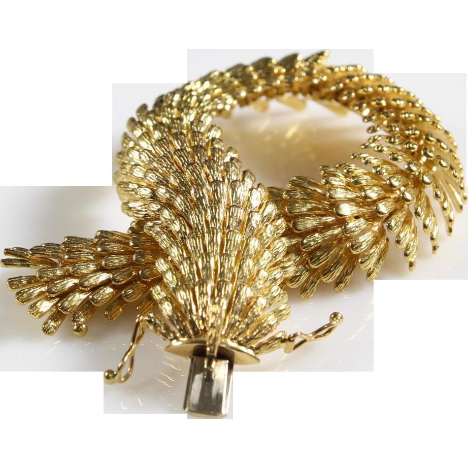 Vintage 18k Gold Link Bracelet Centipede Gold Bracelet | 18k