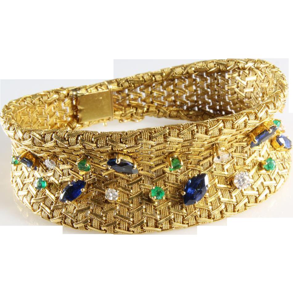 Vintage 18k Gold Link Bracelet Woven 18k Gold Bracelet