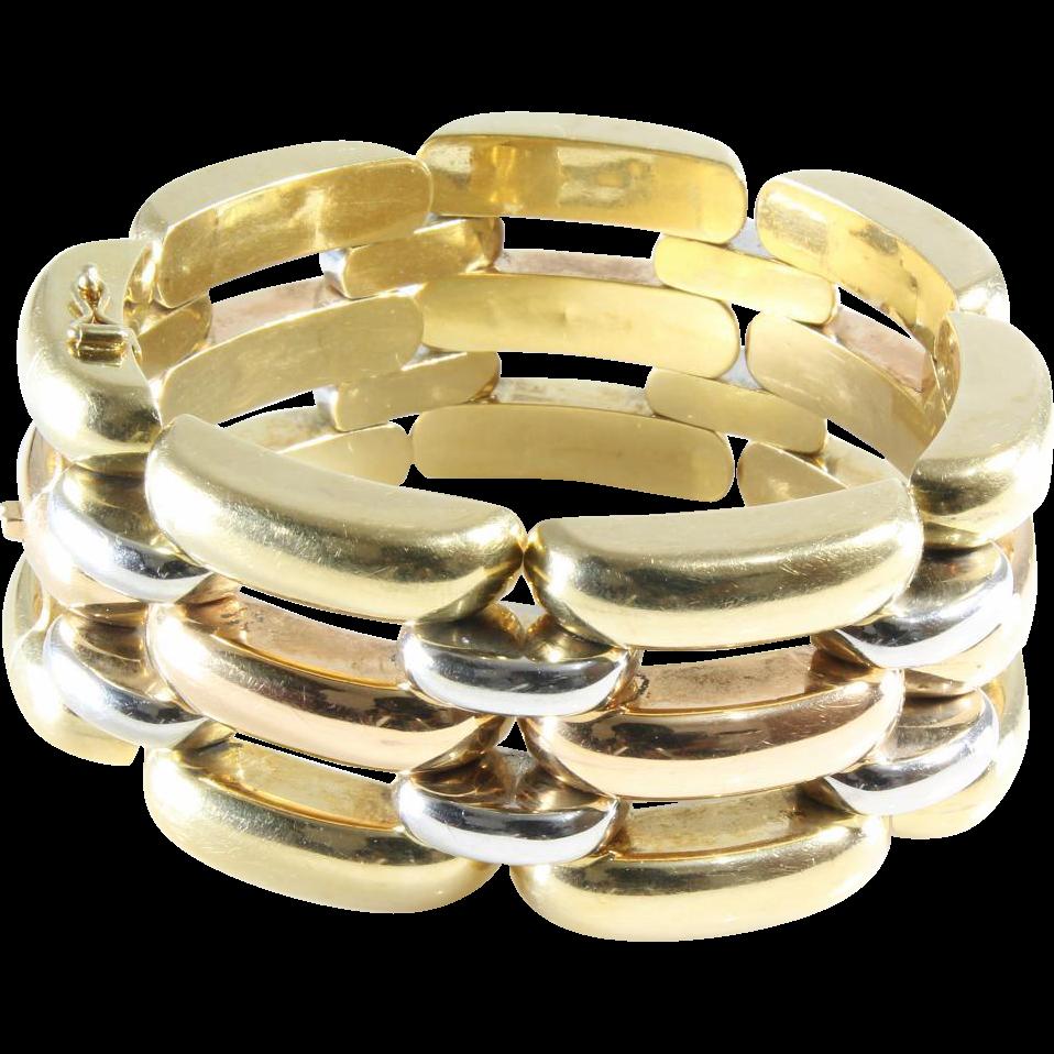 Vintage 18k Gold Link Bracelet Retro Link Bracelet | 18k Gold