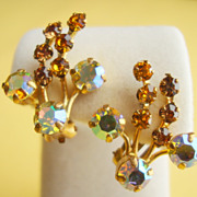 SALE AUSTRIAN Golden Topaz and Brown Topaz Coloured  Rhinestone Clip-on Earrings