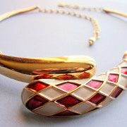BOUCHER Polished and Textured Gold Coloured Harlequin Collar / Necklace with Red and White Ena