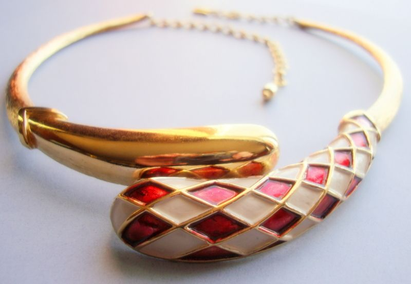 BOUCHER Polished and Textured Gold Coloured Harlequin Collar / Necklace with Red and White Enamelling