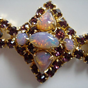 CONTINENTAL Bracelet with Opal and Amethyst Coloured Rhinestones