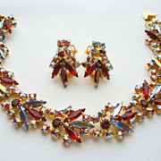 CONTINENTAL Siam Red Rhinestone Bracelet Demi Parure