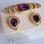 CHRISTIAN DIOR Amethyst Rhinestone Bar Brooch and Earrings