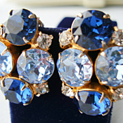 SALE HOBE Cobalt Blue and Ice Blue Large Chaton Rhinestone Earrings