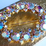 SALE KARU ARKE Aurora Borealis Oval Rhinestone Wreath Brooch