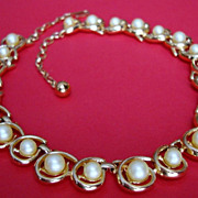 SALE Trifari Faux Pearl Necklace with Fantastic Modern Gold Coloured Metal Setting