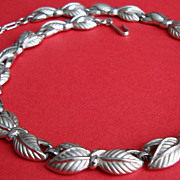 SALE Trifari Pewter Coloured Necklace of Stylized Leaves