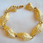 TRIFARI Bracelet with Large Basket Weave Textured Simulated Gold Links
