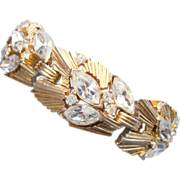 CROWN TRIFARI Glamorous Gold Coloured Metal Bracelet with Clear Marquis and Chaton Rhinestones