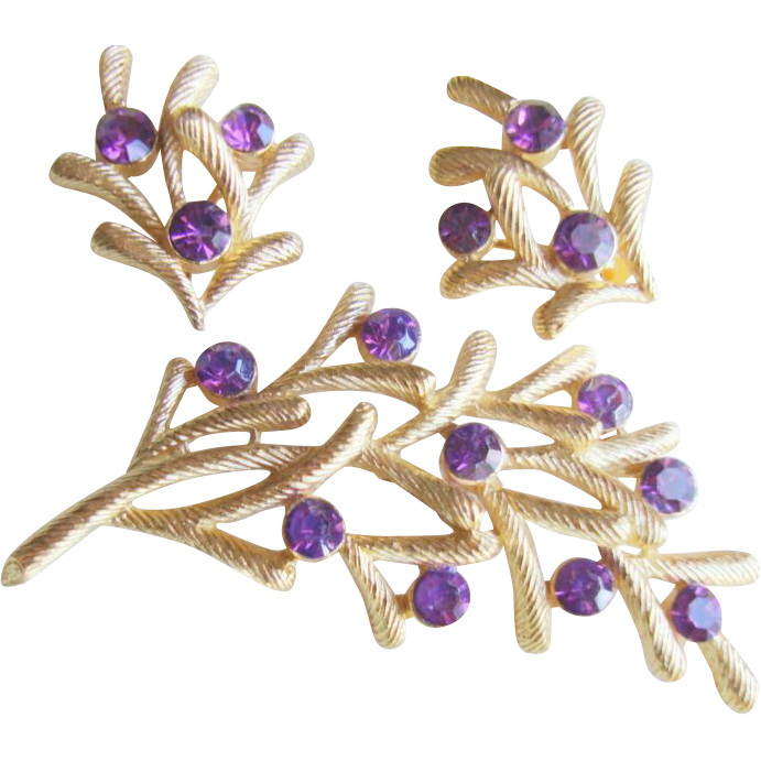 CROWN TRIFARI Amethyst Coloured Rhinestone Brooch Demi Parure