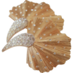 CROWN TRIFARI Gold Coloured Fluted Fantasy Brooch with Clear Pave Rhinestones
