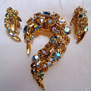 Topaz, Champagne & Aurora Green Brooch Demi Parure