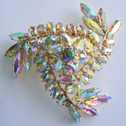 Magnificent Domed Pinwheel Aurora Borealis Rhinestone Brooch