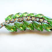 SALE Leaf Brooch of Green Marquis Rs & Aurora Borealis Chatons