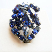 SALE Bi-level Japanned Cobalt Blue Rhinestone  Scatter Brooch