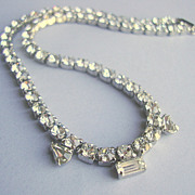 SALE Rhinestone Necklace of Brilliantly Clear Chatons 2 Teardrops & a Baguette