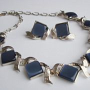 Indigo Blue Thermoset Chicklets Necklace Demi Parure