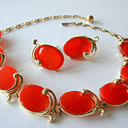 SALE Red Moonglow Thermoset Necklace and Earrings Set