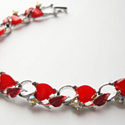 SALE Bracelet with Red Hearts AB Rhinestones and Red Enamelled Leaves