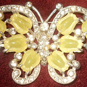 Vintage Sculptural  Butterfly Pin With Tulip Shaped Stones and Rhinestones