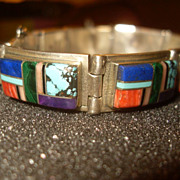 Navaho Multistone Inlay Bracelet on Sterling Silver Signed Teme