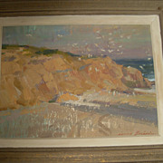Ovanes Berberian Beach-scape Oil on Board 11.5x.8.5 Signed