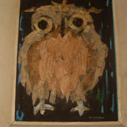 "Jo Lathwood Mixed Media Collage ""Owl"" Signed Listed Hughes"