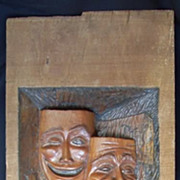 "Ed Mather Carving ""Comedy and Tragedy"""