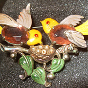 Vintage Enamel Birds in a Nest Pin Unsigned