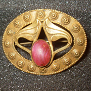 Art Nouveau Pin with Pink Polished Stone