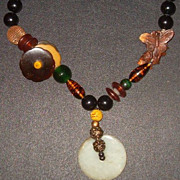 Jade Bakelite, Amber Necklace  with Carving