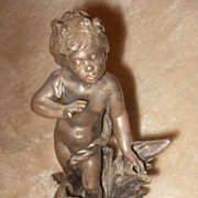 SALE PENDING 19th Century Ink Well with Classical Sculpture of a Putti