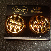 Vintage Abstract Design Monet Brushed Gold Tone Clip Earrings on Original Card
