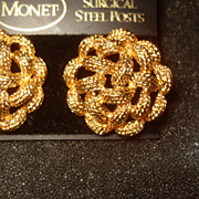 Vintage Tufted Cord Monet Gold Tone Clip Earrings on Original Card