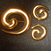 Vintage Swirl Monet Pin and Earring Set