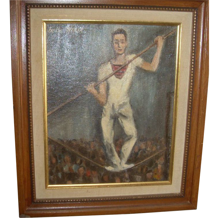 Belle Winer (1904-1998) &quot;Tightrope Walker&quot; Oil on Board Signed