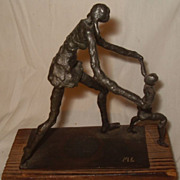 Modernist Mother and Child Bronze Signed ML