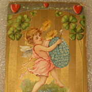 German Fabric Postcard Valentines Day Cherub Drum Advertising