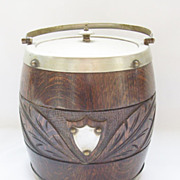 Vintage Carved Oak Treen English Biscuit Barrel