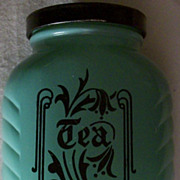 Hazel Atlas Depression Era Fired on Jadite Tea Canister