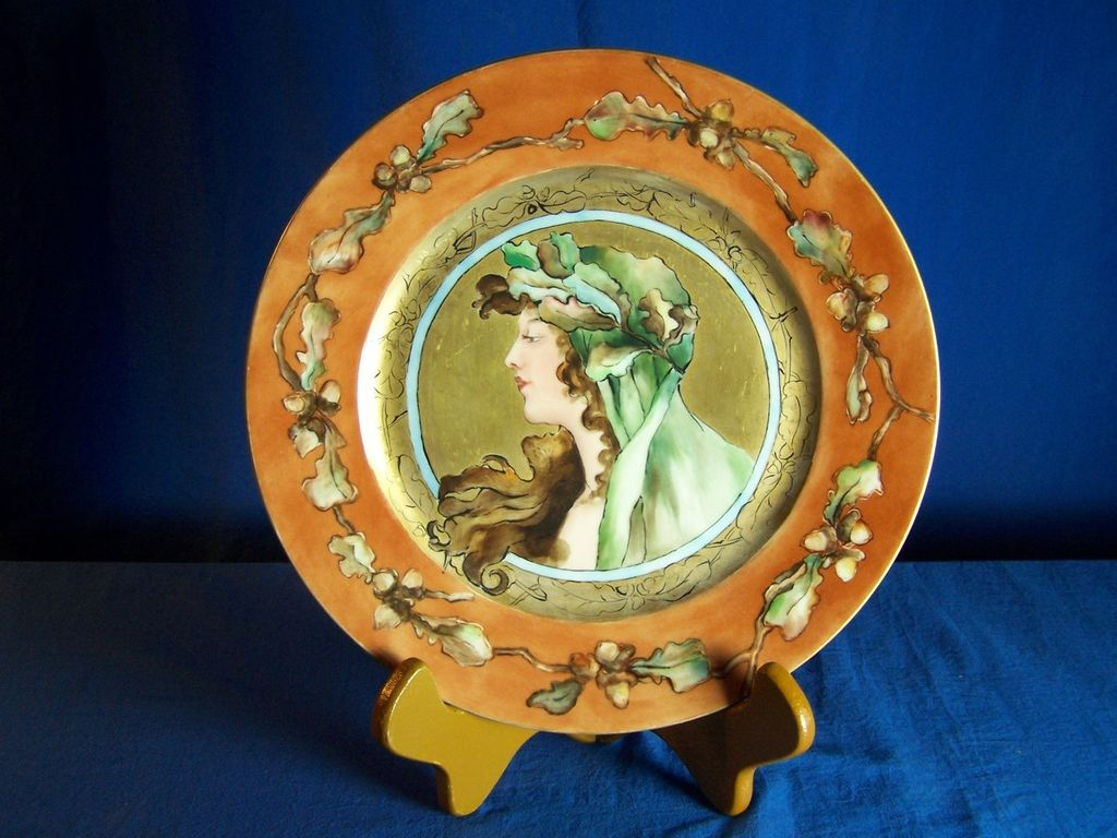 Glorious Antique Haviland & Co. Limoges 1876-1889 Art Nouveau Mucha Style Portrait Plate