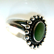 Vintage Harvey Era Sterling and Turquoise Ring - Size 5 1/2