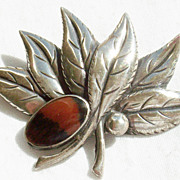Vintage Sterling Silver Leaf Pin with Petrified Wood