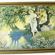 "SALE Framed 1920's Art Deco Fantasy Print - Van Nortwick -  24"" x 16"" - Love's Medit"