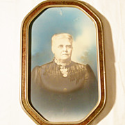 Large Antique Framed Dark Photo of Lady in Mourning - Circa 1900