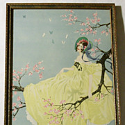 SALE Whimsical 1920's Art Deco Framed Fantasy Print