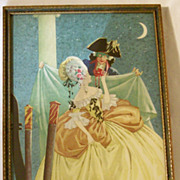 SALE Framed Vintage 1920's Art Deco Fantasy Print - Carnival In Venice