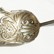 Antique Canadian Victorian Sterling Silver Repousse Bon Bon Spoon - Michael S Brown - Circa 18